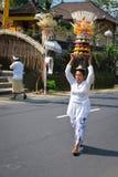 Бали, женщина носит традиционные предложения на ее головке Стоковые Изображения