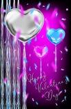 Баллоны формы сердца металлические и покрашенный confetti иллюстрация штока