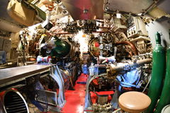 БАЛТИМОР, США - 21-ое июня 2016 - конец детали взгляда подводной лодки мировой войны TORSK ii внутренности вверх Стоковые Фото