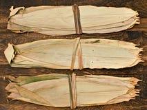 Бамбуковая оболочка лист для китайских вареников Стоковые Изображения RF