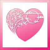 Бамбуковая рамка сердца с луной и облаком бесплатная иллюстрация