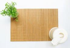 Бамбуковая циновка таблицы с малым заводом и тканью b Стоковые Фотографии RF