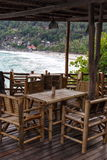 Бамбуковое патио на пляже стоковые фото