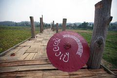 Бамбуковый мост в севере если Таиланд Стоковое Изображение RF
