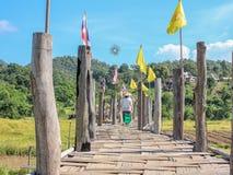 Бамбуковый мост Мост Sutongpe названия места Стоковая Фотография