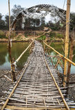Бамбуковый мост через Меконг, место страны, Luang Prabang, Лаос. Стоковая Фотография