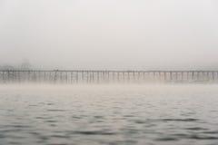 Бамбуковый мост через реку Стоковая Фотография