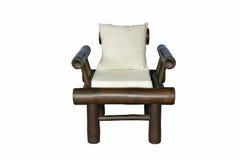 Бамбуковый стул при изолированная подушка Стоковая Фотография
