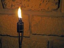 Бамбуковый факел на предпосылке стены песчаника в ноче стоковые изображения rf