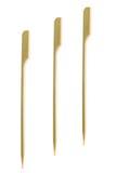 3 бамбуковых протыкальника на белизне Стоковое фото RF