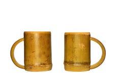 2 бамбуковых чашки изолированной на белой предпосылке Стоковая Фотография RF