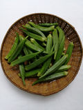 Бамия, зеленые овощи стоковая фотография rf