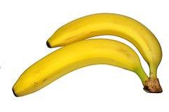 2 банана изолированного на белой предпосылке Стоковые Изображения