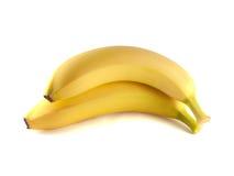 2 банана изолированного на белой предпосылке (зрелой). Стоковые Изображения