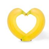 2 банана изолированного на белой предпосылке Стоковое Изображение RF