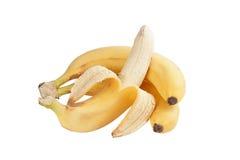 3 банана на белой предпосылке Стоковые Фотографии RF