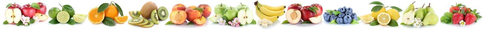 Бананы апельсинов яблок яблока плодоовощей оранжевые приносить в ряд isolat Стоковое Изображение