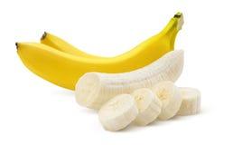 2 бананы и части на белизне Стоковое Изображение RF
