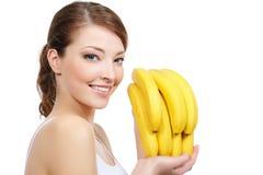бананы смеясь над женщиной Стоковые Фото
