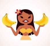 Бананы удерживания девушки Hula Стоковая Фотография