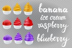 Банан вектора установленный желтый, красная поленика, голубая фиолетовая голубика, ванильное мороженое в конусе на прозрачной лит Стоковое Изображение