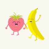 Банан и клубника Счастливый комплект плодоовощ усмехаться стороны Характер шаржа усмехаясь с глазами навсегда друзья Плоский диза иллюстрация штока