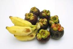 Банан и мангустан Стоковые Изображения