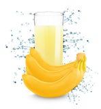Банан с соком молока свежим Стоковая Фотография RF