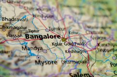 Бангалор или Bengaluru на карте Стоковые Изображения