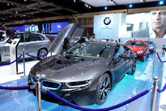 Бангкок - 2-ое апреля: Автомобиль нововведения серии I8 BMW Стоковые Изображения RF