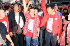 БАНГКОК - 10-ОЕ ДЕКАБРЯ: Красная демонстрация протеста рубашек - Таиланд Стоковая Фотография RF