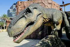 Бангкок, Таиланд: Диаграмма динозавра 2-ое января 2018 на планете динозавра в сердце Бангкока Стоковое фото RF