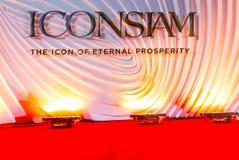 Бангкок, Таиланд - 9-ое ноября 2018: Знамя фона ICONSIAM стоковое изображение rf