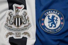 БАНГКОК, ТАИЛАНД - 19-ОЕ ОКТЯБРЯ: Логотип Newcastle United и Стоковые Изображения RF