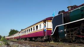 Бангкок, Таиланд - 12-ое августа: Специальный поезд парового двигателя