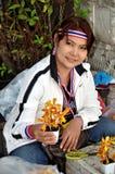 Бангкок, Таиланд: Женщина продавая орхидеи Стоковое Изображение RF