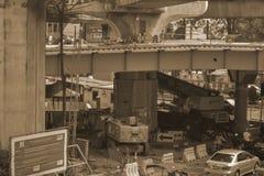 Бангкок Таиланд: 29-ое января 2017 станция метро BTS, конструкция станции метро Стоковое Фото