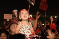 БАНГКОК - 10-ОЕ ДЕКАБРЯ: Красная демонстрация протеста рубашек - Таиланд Стоковые Фотографии RF
