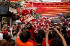 БАНГКОК, - 10-ОЕ ФЕВРАЛЯ: Китайское Новый Год 2013 - торжества внутри Стоковая Фотография