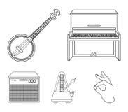 Банджо, рояль, громкоговоритель, метроном Установленные музыкальными инструментами значки собрания в плане вводят запас в моду си иллюстрация штока