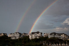 Банки двойной радуги наружные стоковая фотография rf
