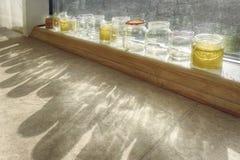 Банки для мыть щеток на окне с ярким солнцем стоковое фото rf