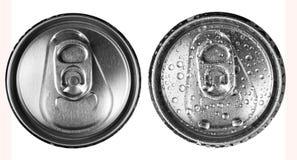 2 банки пива на белом взгляд сверху предпосылки Стоковое фото RF