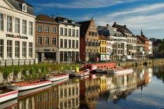 Банки реки Leie в центральной части Gent Стоковое Изображение RF