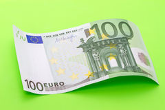 Банкнота волны 100 евро Стоковое Изображение