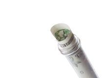 Банкнота в градуированной пробирке, цена доллара медицинского здоровья стоковые изображения rf