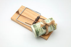 Банкнота в мышеловке Стоковое фото RF