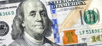 Банкнота 100 долларов американца с портретом Benjami Стоковое фото RF