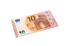 Банкнота евро 10 изолированная на белизне Стоковые Изображения