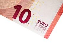 Банкнота евро 10 на белой предпосылке Стоковая Фотография